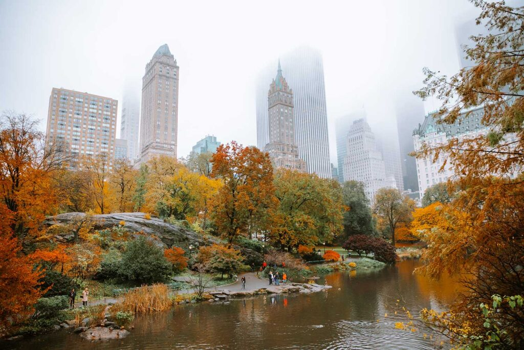 The view from Gapstow bridge on a foggy NYC afternoon in the autumn. Peak fall foliage in the park!