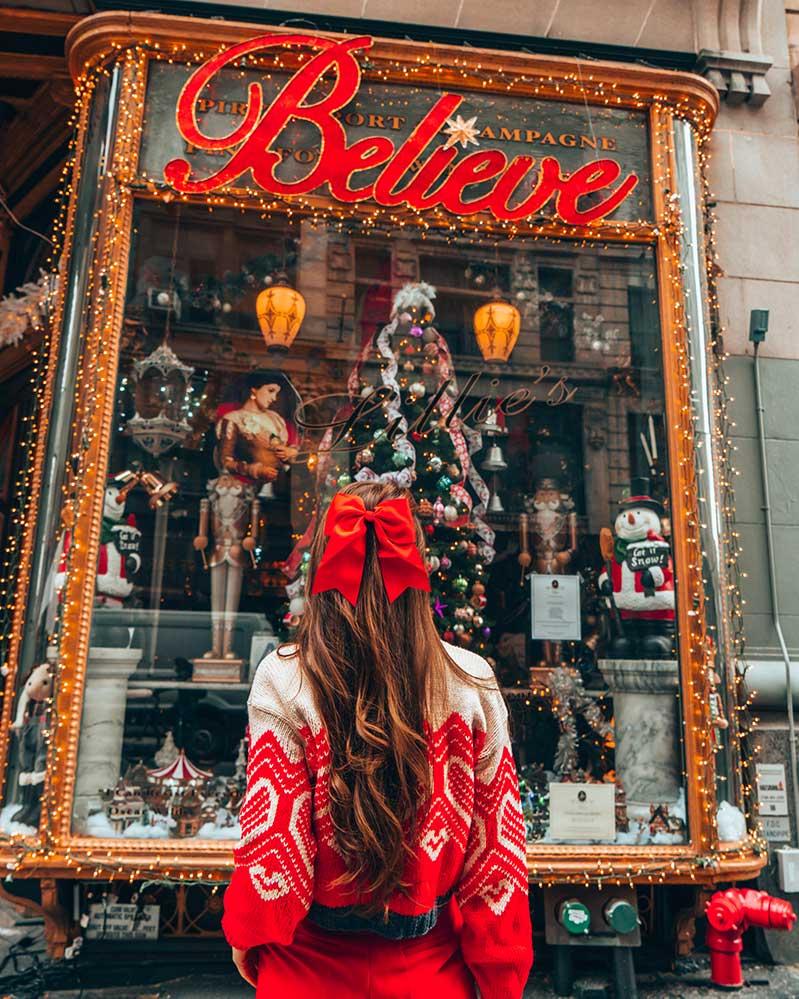 Kristi Hemric (Instagram: @khemric) looks at the inspiring 'Believe' at Lillie's Victorian Establishment in New York City