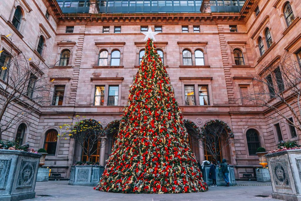 The Lotte Palace Christmas Tree in New York makes for the perfect backdrop for a holiday photo (photo credit: @khemric)
