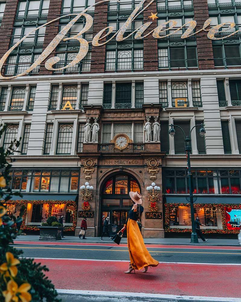 Kristi Hemric (Instagram: @khemric) looks at the inspiring 'Believe' sign on Macy's Herald Square in NYC